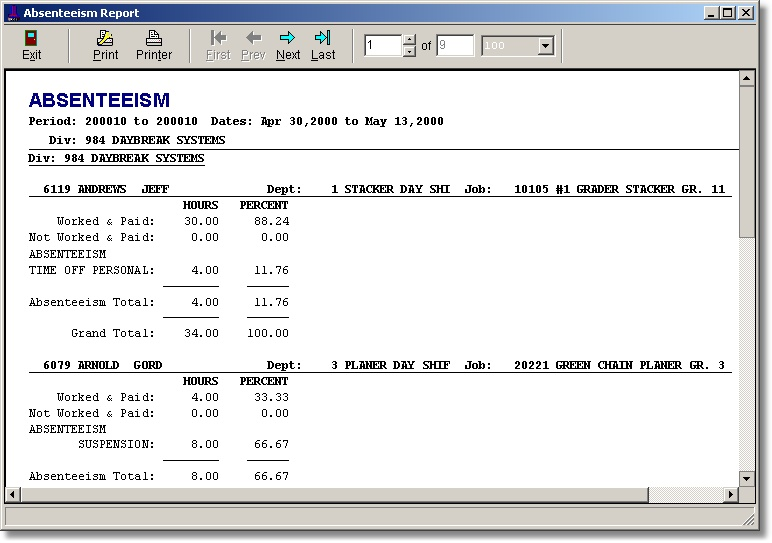 absenteeism report template